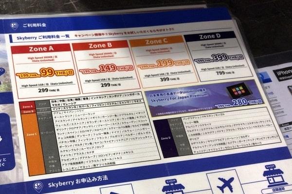 モバイルWiFiの料金表